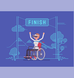 Vr woman woman wheelchair user winning vector