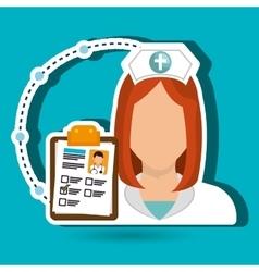 Woman medical staff clipboard vector