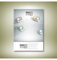 World map with pointer marks brochure flyer or vector