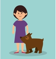 Young woman with dog avatar character vector