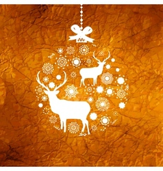 Christmas deer bauble card vector