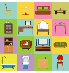 Furniture icons set flat design vector