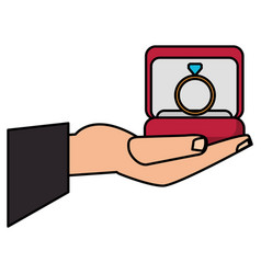 hand holding box ring vector image