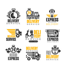 delivery set for label design express delivery vector image