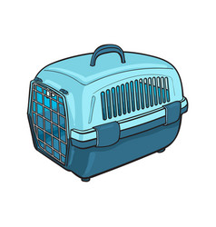 Plastic pet travel carrier for transporting cats vector