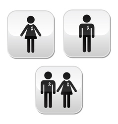 Man and woman with awareness ribbons buttons set vector image
