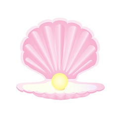 Pink seashell with pearl vector
