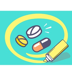 Marker drawing circle around pills and vi vector