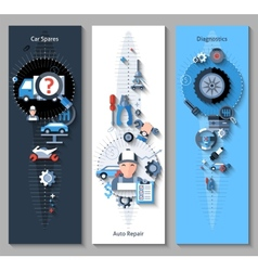 Car repair banners vertical vector