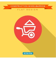 Wheelbarrow full of sand into flat style vector