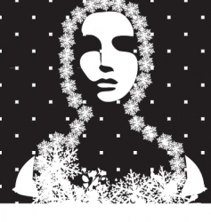 Winter portrait black and white vector