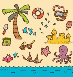 doodle beach vector image