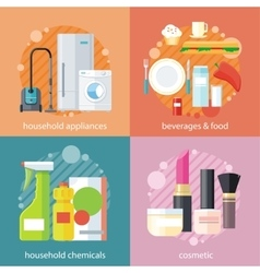 Household and beverages food cosmetic vector