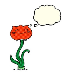 Cartoon flower with thought bubble vector