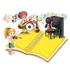 Children playing musical instrument vector