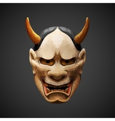 Low poly mask noh theater hannya side light vector