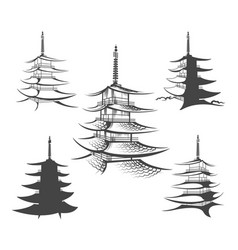 Asian pagoda or buddhist house set vector