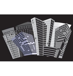 black and white city vector image