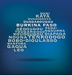 Burkina Faso map made with name of cities vector image
