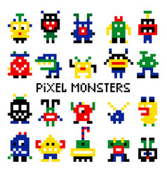 colored pixelated retro space monsters vector image