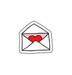 Envelope with heart doodle icon vector