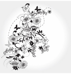 floral ink vector image