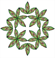 floral leaves symmetry snake symbol vector image