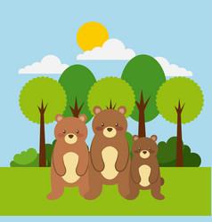 Forest and animals bear wildlife natural vector