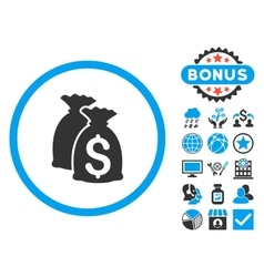 Funds flat icon with bonus vector
