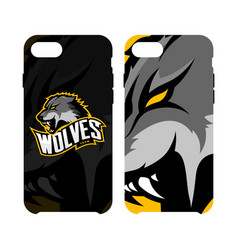 furious wolf sport logo concept smart phone vector image