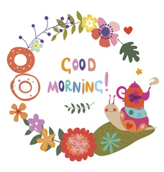 Good morning with cute snail vector image