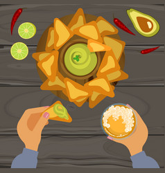 Guacamole and nachos vector