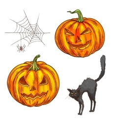 Halloween scary pumpkin lantern sketch icons vector image