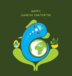 Happy ganesha chaturthi greeting design vector