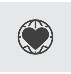 Heart and globe icon vector image