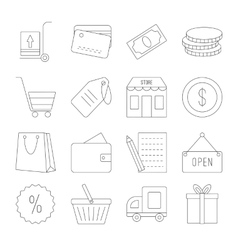 Line shopping icons set vector