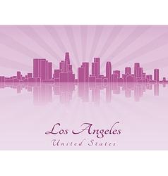 Los Angeles skyline in purple radiant orchid vector image