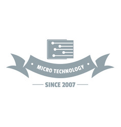 micro technology logo simple gray style vector image