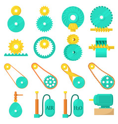 Moving mechanisms icons set cartoon style vector