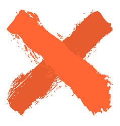 Orange criss cross brushstroke delete sign vector