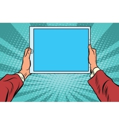 Pop art electronic tablet in the hands vector