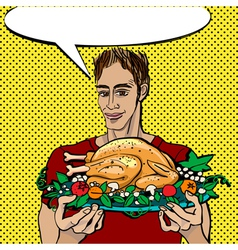 pop art thanksgiving vector image