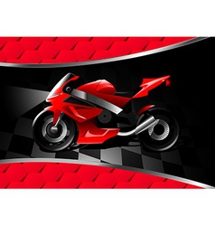 Red motor bike at night on textured background vector image