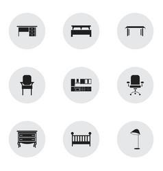 Set of 9 editable interior icons includes symbols vector