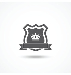 Shield icon with ribbon and crown vector image vector image