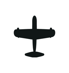 simple black Airplane icon with screw on white vector image