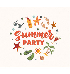 Summer party text with beach elementssunscreen vector