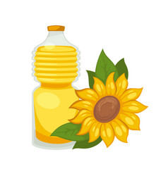 Sunflower oil in bottle flat isolated icon vector