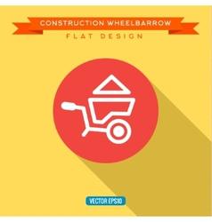 Wheelbarrow full of sand into flat style vector image