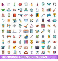 100 school accessories icons set cartoon style vector image vector image